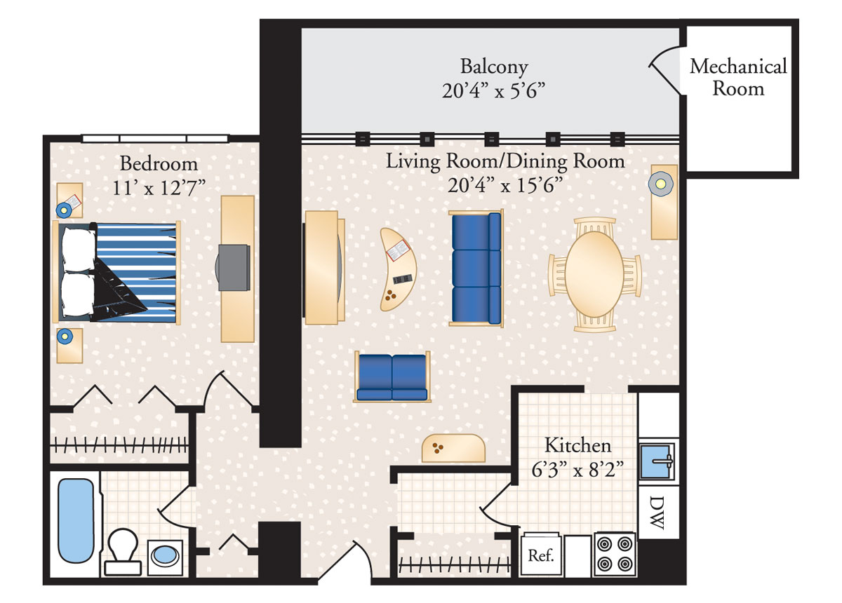 1 Bedroom 1 Bath – Deluxe - 926 SF
